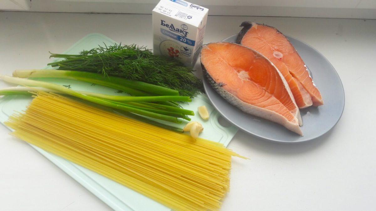 Ингредиенты для приготовления спагетти с лососем
